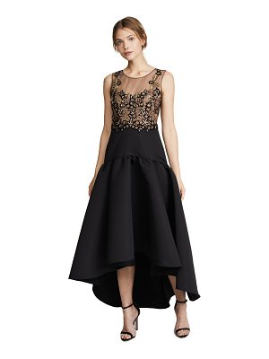 Notte by Marchesa sleeveless high low dress with embroidery