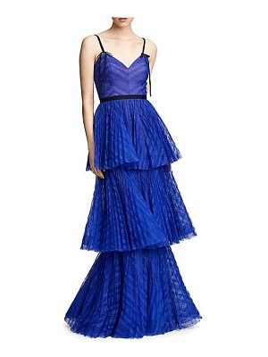 Notte by Marchesa sleeveless lace tiered gown