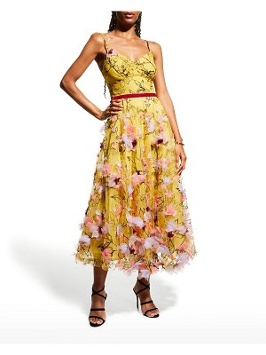 Notte by Marchesa Sleeveless Tea-Length Gown w/ 3D Appliques
