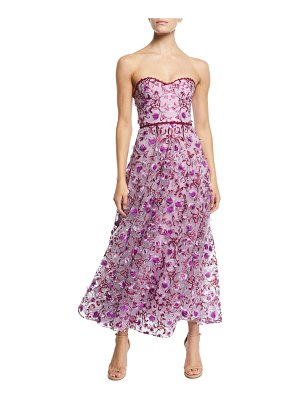 Notte by Marchesa Strapless 3D Floral Embroidery Dress