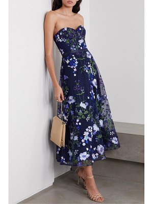 Notte by Marchesa strapless appliquéd embroidered tulle gown