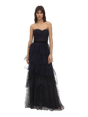 Notte by Marchesa Strapless flocked tulle gown