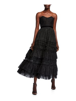 Notte by Marchesa Strapless Glitter Tulle Textured A-Line Tea Length Gown