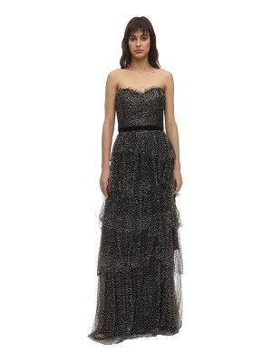 Notte by Marchesa Strapless glittered tulle gown