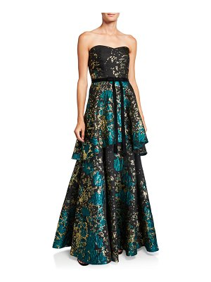 Notte by Marchesa Strapless Metallic Fil Coup Tiered Gown with Velvet Waist Trim