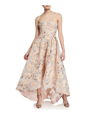 Notte by Marchesa Strapless Metallic Fil Coupe High-Low Gown