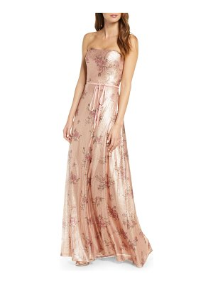 Notte by Marchesa strapless print sequin bridesmaid gown