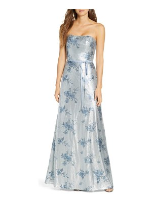 Notte by Marchesa strapless print sequin a-line gown