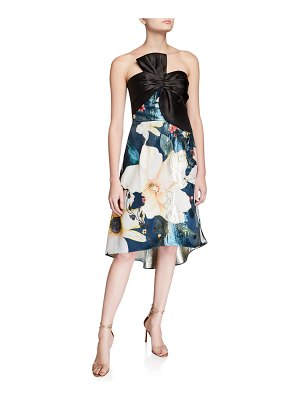 Notte by Marchesa Strapless Printed Metallic Jacquard High-Low Cocktail Dress