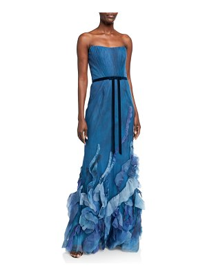 Notte by Marchesa Strapless Printed Tulle Textured Gown