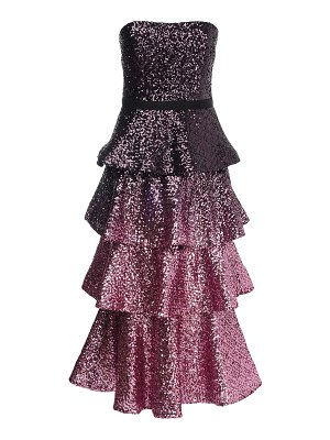 Notte by Marchesa Strapless ruffled sequin long dress