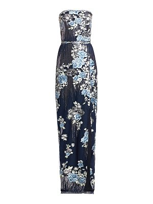 Notte by Marchesa strapless sequin floral gown