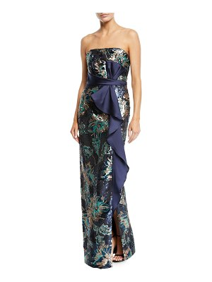 Notte by Marchesa Strapless Sequin Peony Column Gown