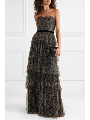 Notte by Marchesa strapless tiered velvet-trimmed glittered tulle gown