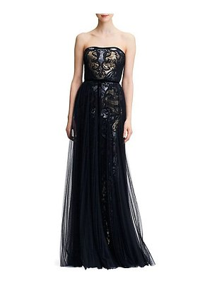 Notte by Marchesa strapless tulle & sequin gown