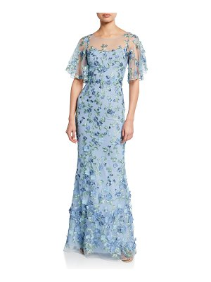 Notte by Marchesa Sweetheart Illusion Flutter-Sleeve Embroidered Tulle Gown w/ 3D Flowers