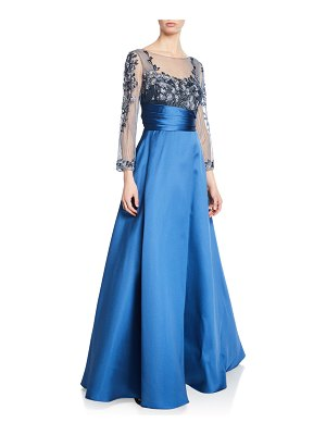 Notte by Marchesa Sweetheart Illusion Mikado Ball Gown w/ 3D Floral-Embroidered Bodice