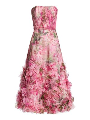 Notte by Marchesa textured printed a-line dress
