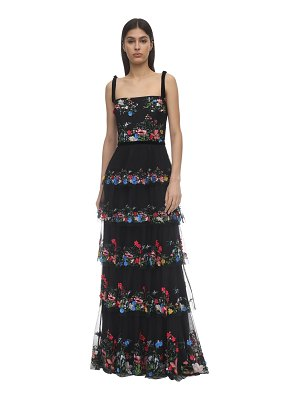 Notte by Marchesa Tiered embroidered tulle gown