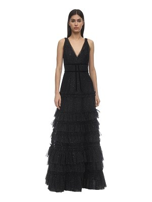 Notte by Marchesa Tiered glittered tulle gown