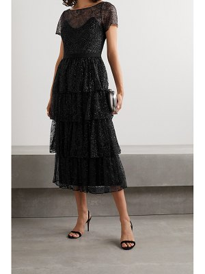 Notte by Marchesa tiered glittered tulle midi dress