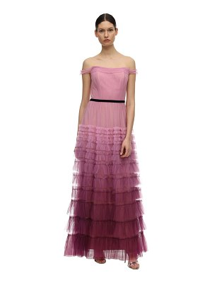 Notte by Marchesa Tiered gradient tulle gown