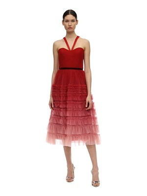 Notte by Marchesa Tiered gradient tulle midi dress