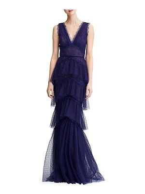 Notte by Marchesa tiered lace gown