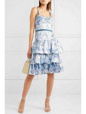 Notte by Marchesa tiered metallic fil coupé tulle dress