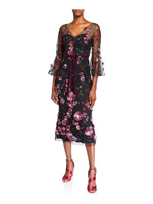 Notte by Marchesa V-Neck Flutter-Sleeve Embroidered Tulle Dress w/ 3D Flowers