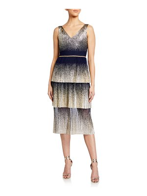 Notte by Marchesa V-Neck Pleated Foil Degrade Tiered Cocktail Dress