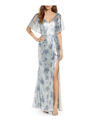 Notte by Marchesa v-neck print sequin bridesmaid gown