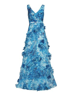 Notte by Marchesa v-neck printed organza 3d appliques gown