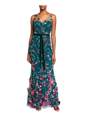 Notte by Marchesa V-Neck Sleeveless Embroidered Gown w/ 3D Flowers & Velvet Trim