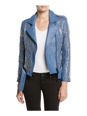 Nour Hammour Mary-Jane Zip-Front Studded Lamb Leather Moto Jacket