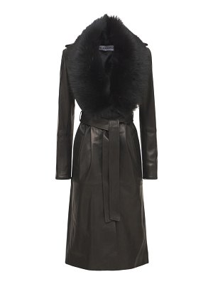 Nour Hammour Uptown girl leather belted trench coat