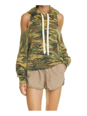 NSF Clothing tricia camo cold shoulder open back hoodie