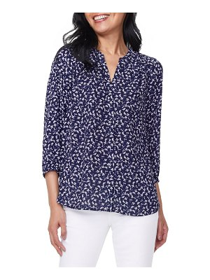 NYDJ pintuck blue ditsy floral blouse