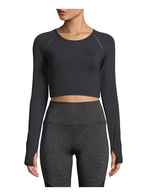 Nylora Keith Crossover-Back Long-Sleeve Cropped Performance Top