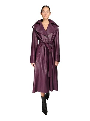 NYNNE Belted leather trench coat