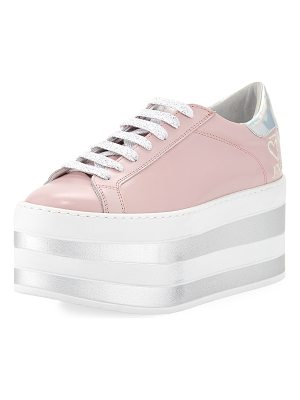 O Jour Lace-Up Patent Platform Sneakers