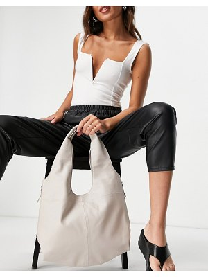 Object leather shoulder bag with zip detail in stone-neutral