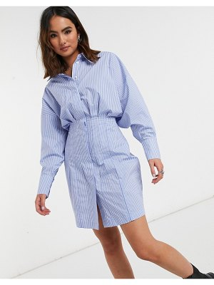 Object mini shirt dress with ruched waist in stripe print-multi