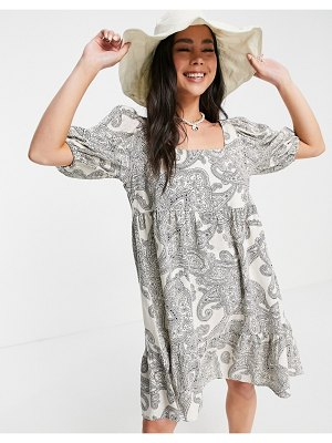 Object mini smock dress in paisely print-white