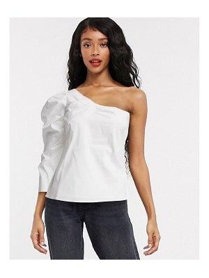 Object one shoulder top with puff sleeve in white