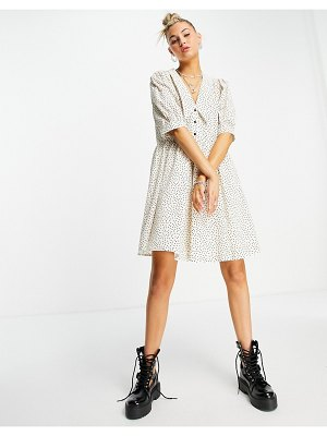 Object organic cotton mini smock dress with collar in spot print-white
