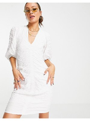 Object recycled polyester dress with ruching in white