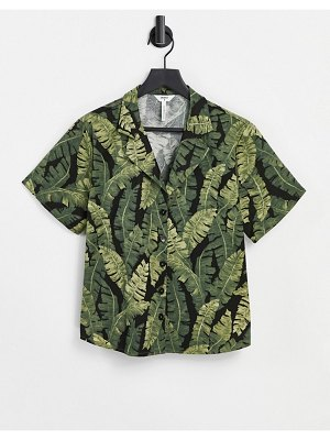 Object set shirt in palm print-green
