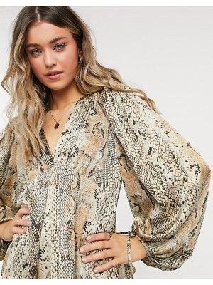 Object v neck blouse with volume sleeve in animal print-multi
