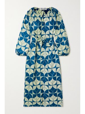 Odile Jacobs belted printed waxed-cotton midi dress